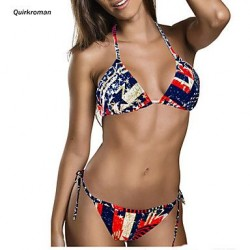Women's Wireless/Padless Bra Floral Bandeau Bikinis (Polyester)