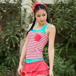 Women's Bra Style Neckline Striped Swimwear Nz