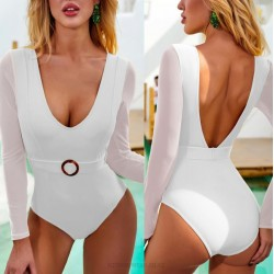 Long Sleeves Tulle One Piece Belt One Piece Swimsuit