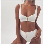 Bikini High Waist Zipper Two Piece Swimsuit