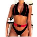 Bikini High Quality Zipper Button Two Piece Swimsuit