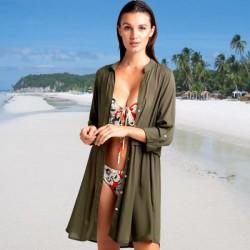 Army Green Shirt Long Sleeves Swimwear Bikini Beach Cover Up Seaside Beach Wear Sun Protective Cardigan WomenS