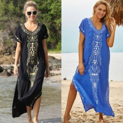 Beach Cover Up Embroidered Long Robe Seaside Holiday Long Dress Sun Protective Clothing WomenS Swimwear Beach Cover Up Long Robe