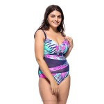 Swimsuits For Big Girls Plus Size Printing Tulle Steel Ring Blackless One Piece Swimwear WomenS Swimsuits