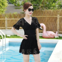 Swimsuits For Big Girls Plus Size Swimsuits Black Steel Ring Dress One Piece Boxer Lace Hollow Out Half Sleeves WomenS Swimwear