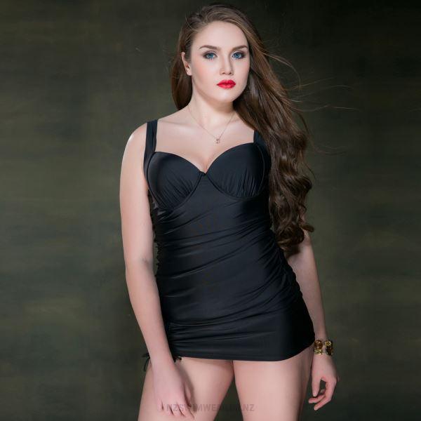 Swimsuits For Big Girls Plus Size Swimwear Pure Colour Steel Ring One Piece WomenS Swimwear