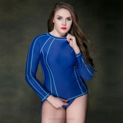 Plus Size WomenS Swimwear Top Race Sport Long Sleeves Diving Suit Surfing
