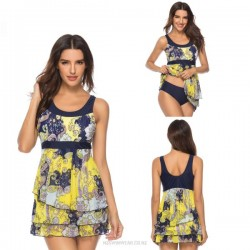 Beach Tulle Printing Two Piece Swimwear