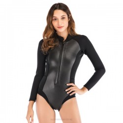 2Mm One Piece Long Sleeves Diving Suit Womens Waterproof Snorkeling Suit Winter Swimming Diving Suit Swimwear