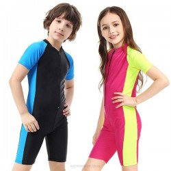 Short Sleeve Children One Piece Sun Protective Clothing Diving Suit Surfing Wetsuit Snorkeling Suit One Piece Swimwear Equipment 1012