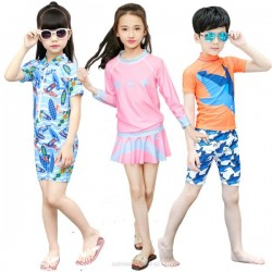 Beach Boy Girl Children Cartoon Two Piece One Piece Long Sleeves Swimming Swimwear