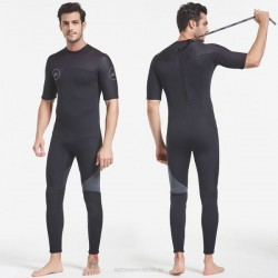 3Mm Thicken Diving Suit One Piece Short Sleeve Long Pants Warm Surfing Zipper Swimming Dive Skin