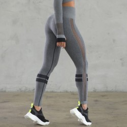 Sexy Hollow Out Mesh Leggings Sport Bodybuilding Tight Pants Seamless Yoga Pants WomenS