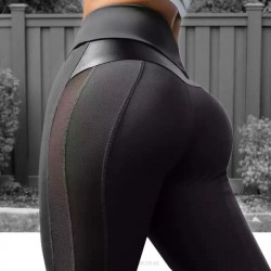 Black Pu Yoga Pants Tulle Sport Hip Lift Leggings Bodybuilding Pants WomenS